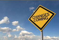 Images of a road sign with 'changes coming' on it