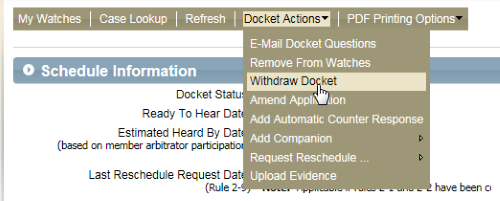 Screenshot of the Withdraw Docket option under Docket Actions